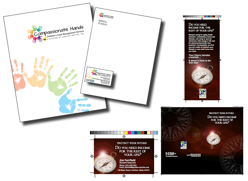 Custom folder, letterhead and business cards designed for Compassionate Hands, Children's Case Management Services and brochure and business cards for Gosline Insurance Group.